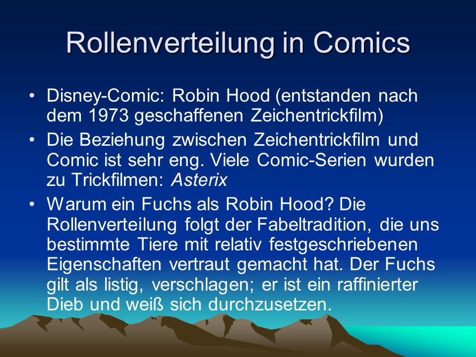 Rollenverteilung in Comics