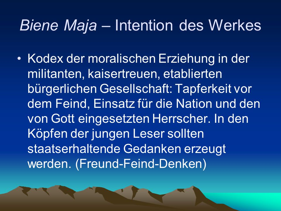 Biene Maja – Intention des Werkes