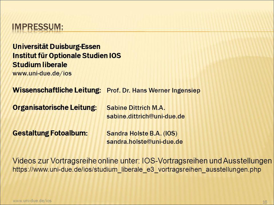 Impressum: Universität Duisburg-Essen