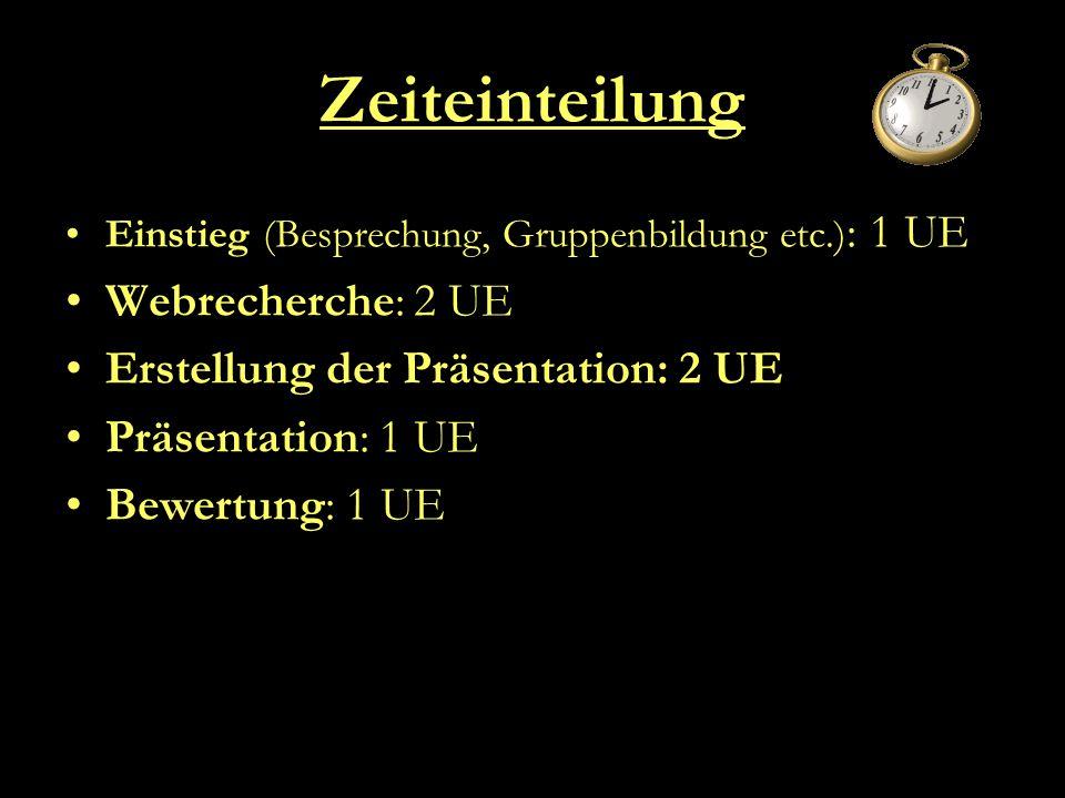 Zeiteinteilung Webrecherche: 2 UE Erstellung der Präsentation: 2 UE