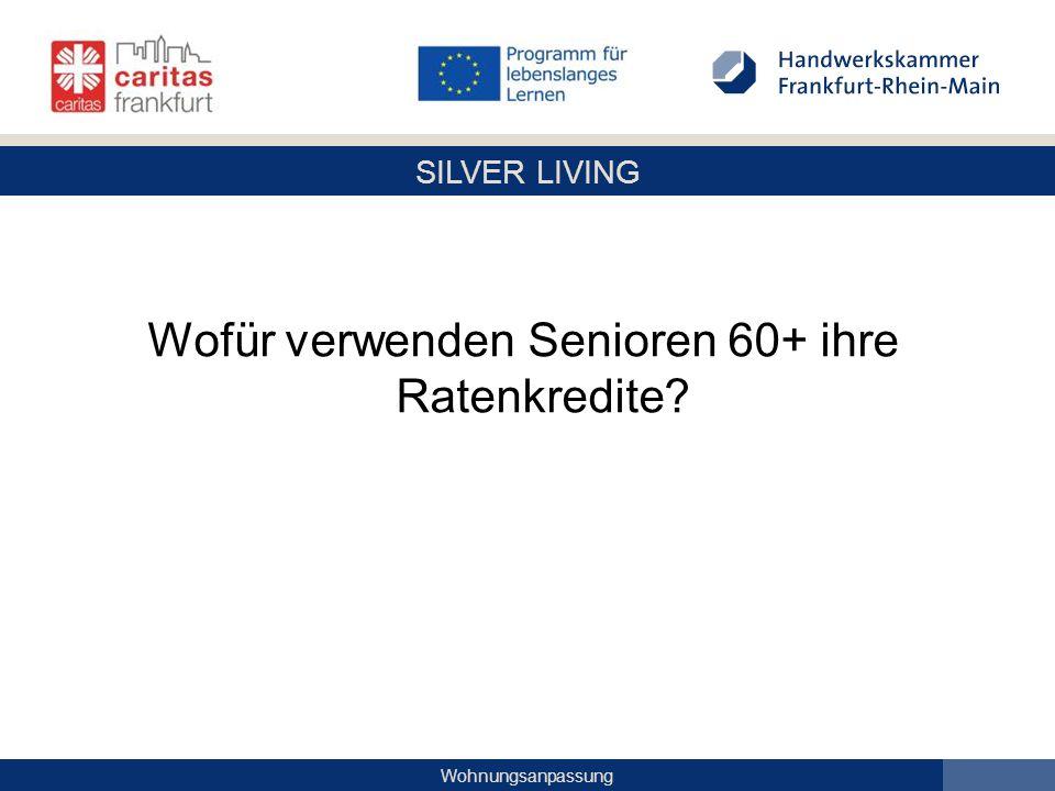 Wofür verwenden Senioren 60+ ihre Ratenkredite