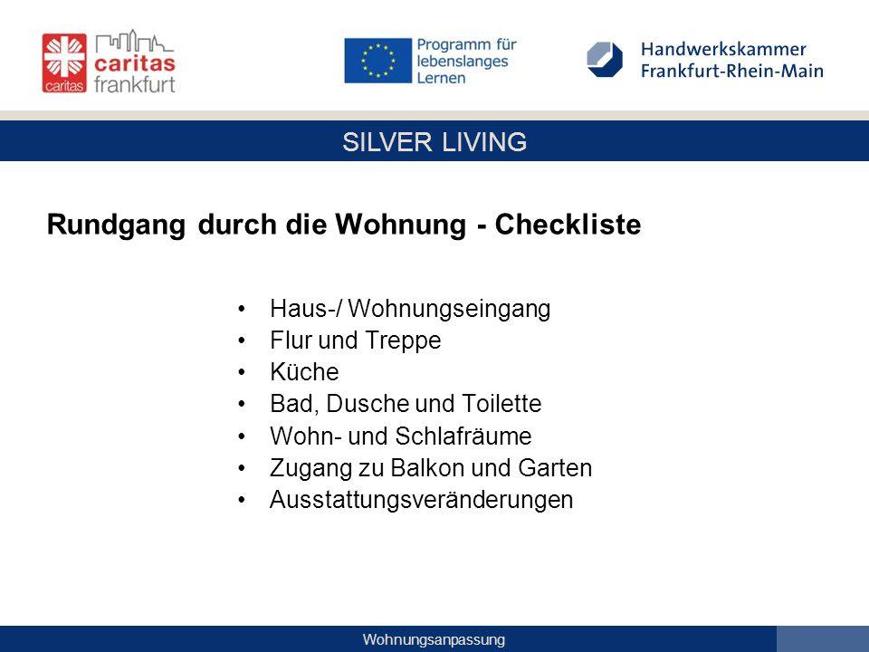 Rundgang durch die Wohnung - Checkliste