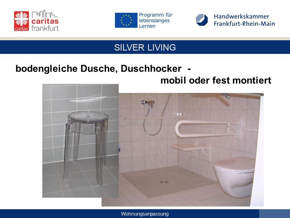 bodengleiche Dusche, Duschhocker -