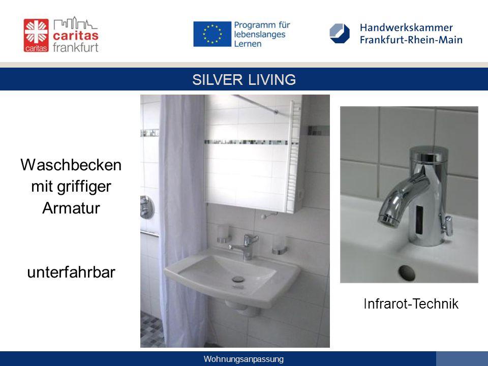 Waschbecken mit griffiger Armatur unterfahrbar Infrarot-Technik
