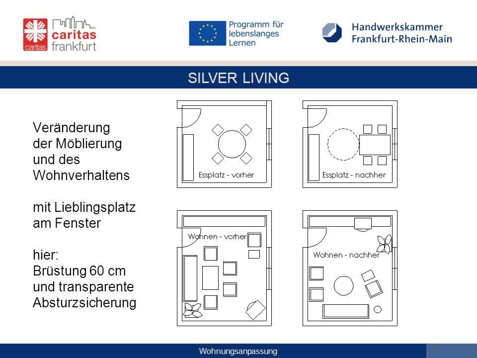 Veränderung der Möblierung und des Wohnverhaltens mit Lieblingsplatz am Fenster hier: Brüstung 60 cm und transparente Absturzsicherung