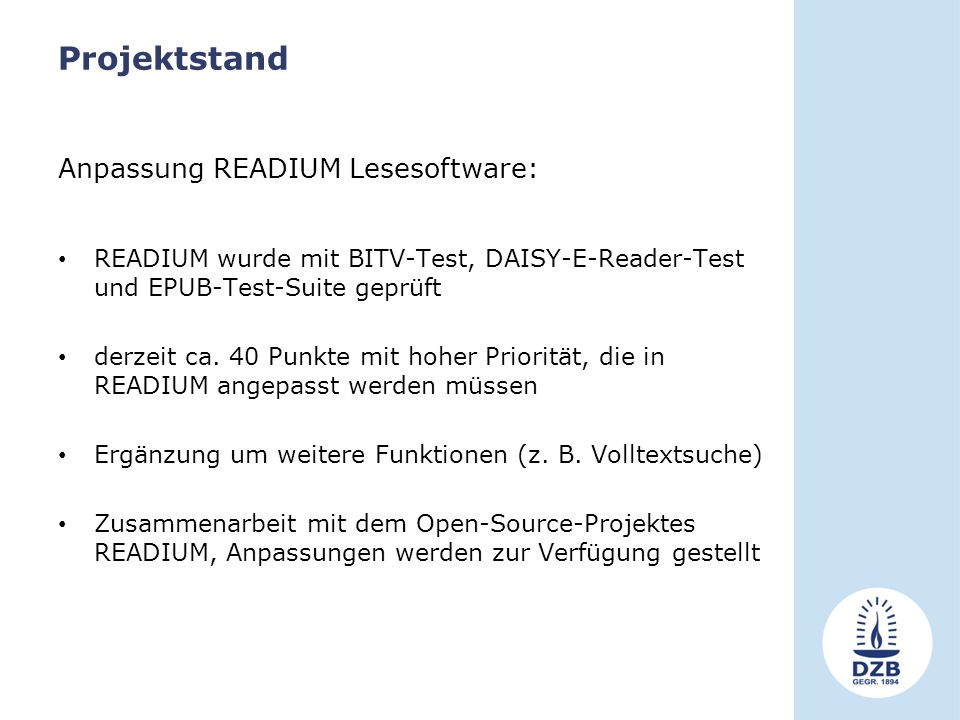 Projektstand Anpassung READIUM Lesesoftware: