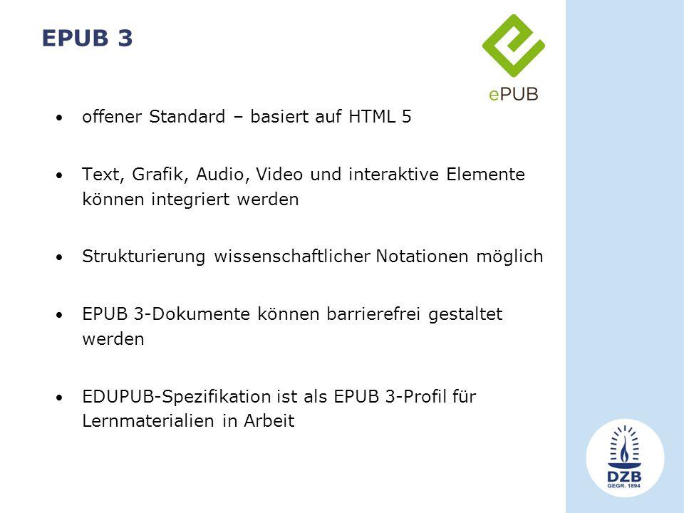 EPUB 3 offener Standard – basiert auf HTML 5