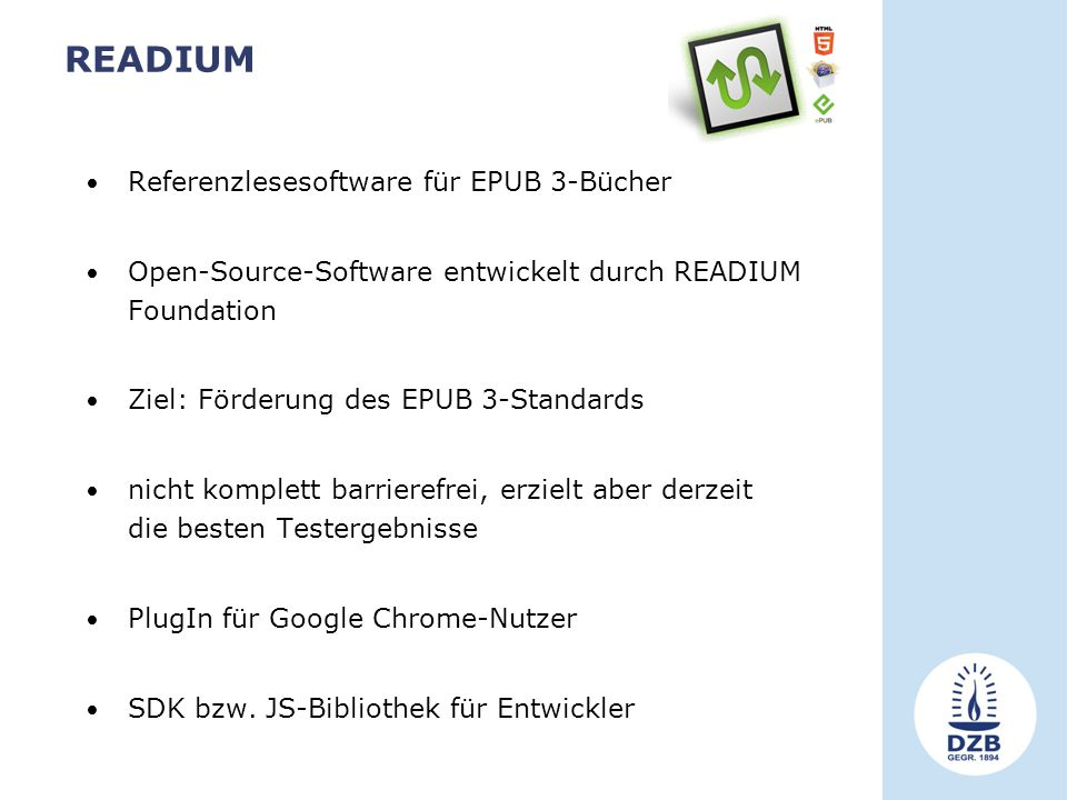 READIUM Referenzlesesoftware für EPUB 3-Bücher