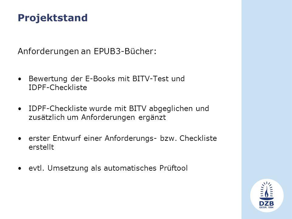 Projektstand Anforderungen an EPUB3-Bücher: