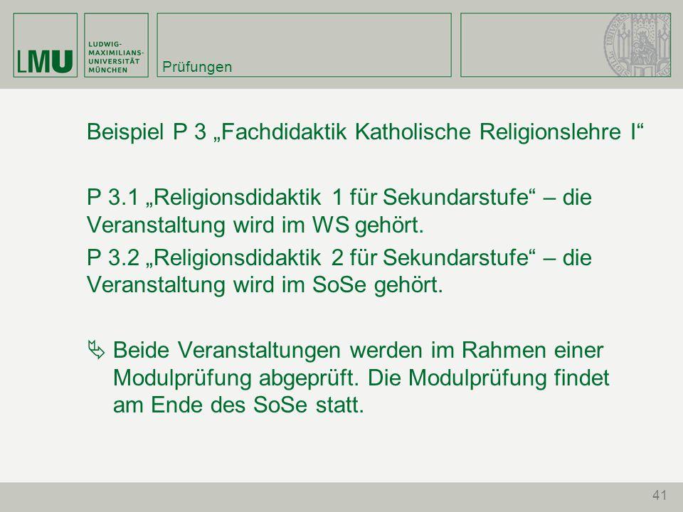 """Beispiel P 3 """"Fachdidaktik Katholische Religionslehre I"""