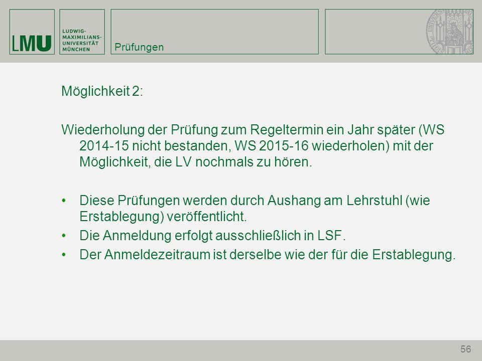 Die Anmeldung erfolgt ausschließlich in LSF.