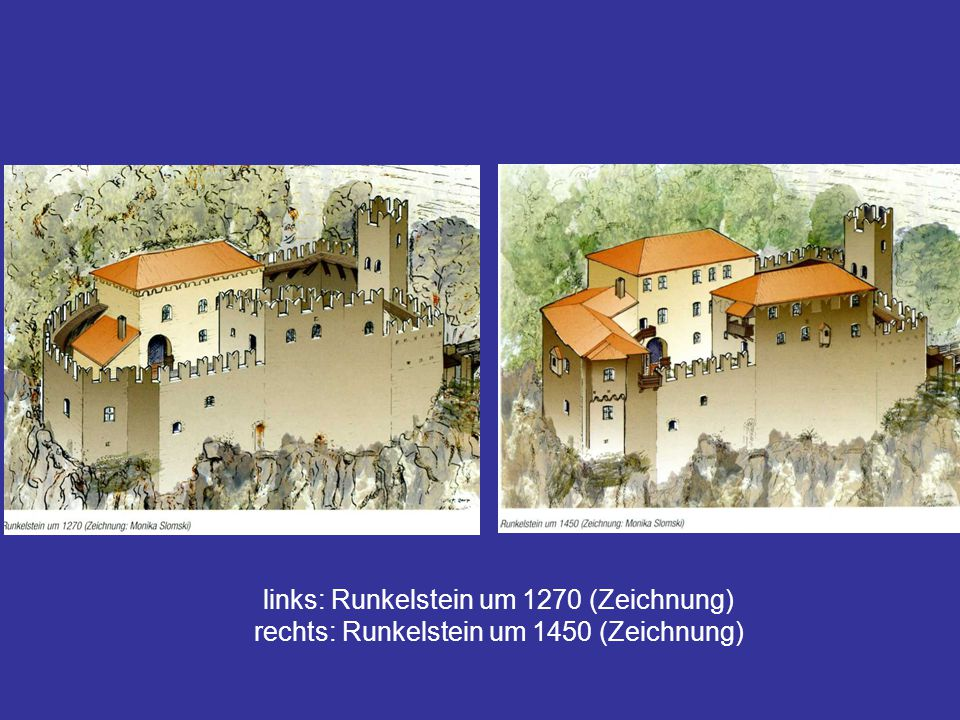 links: Runkelstein um 1270 (Zeichnung)