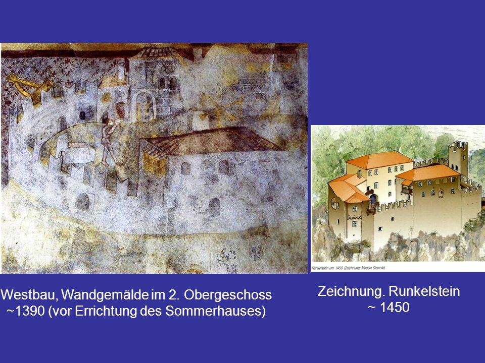 Zeichnung. Runkelstein ~ 1450 Westbau, Wandgemälde im 2. Obergeschoss