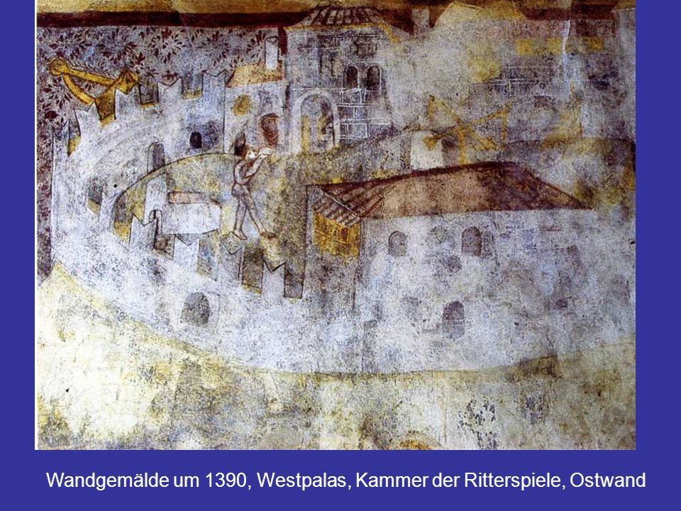 Wandgemälde um 1390, Westpalas, Kammer der Ritterspiele, Ostwand