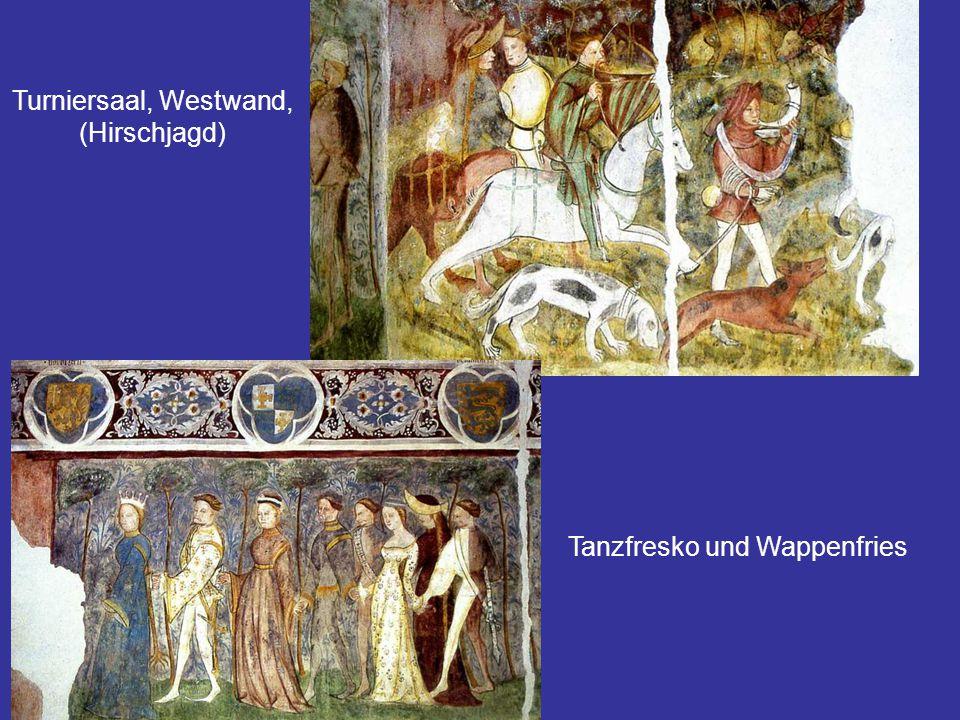 Tanzfresko und Wappenfries
