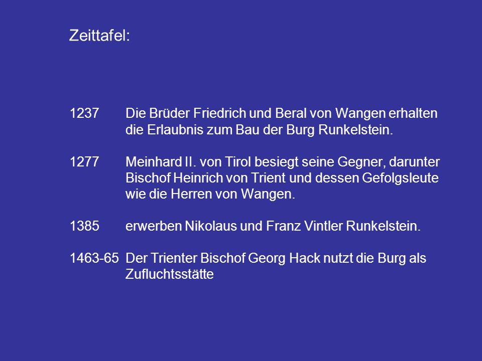 Zeittafel: 1237. Die Brüder Friedrich und Beral von Wangen erhalten