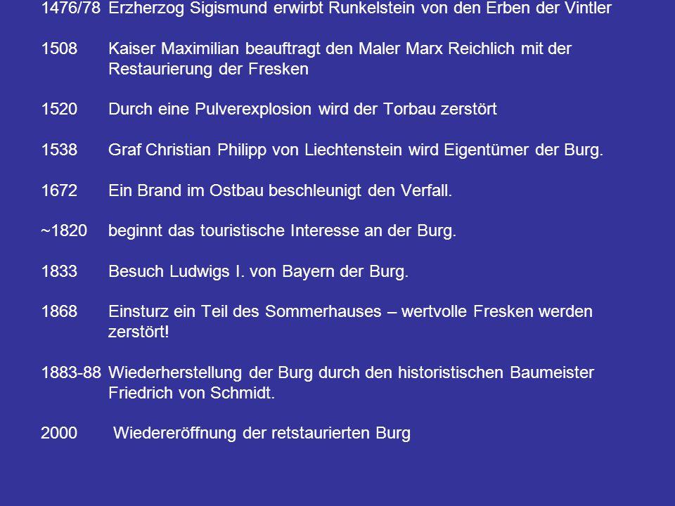 Zeittafel: 1237 erhalten die Brüder Friedrich und Beral von Wangen die Erlaubnis zum Bau der Burg 1277 Meinhard II.