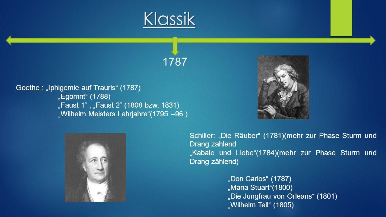"""Klassik 1787 Goethe : """"Iphigemie auf Trauris (1787) """"Egomnt (1788)"""