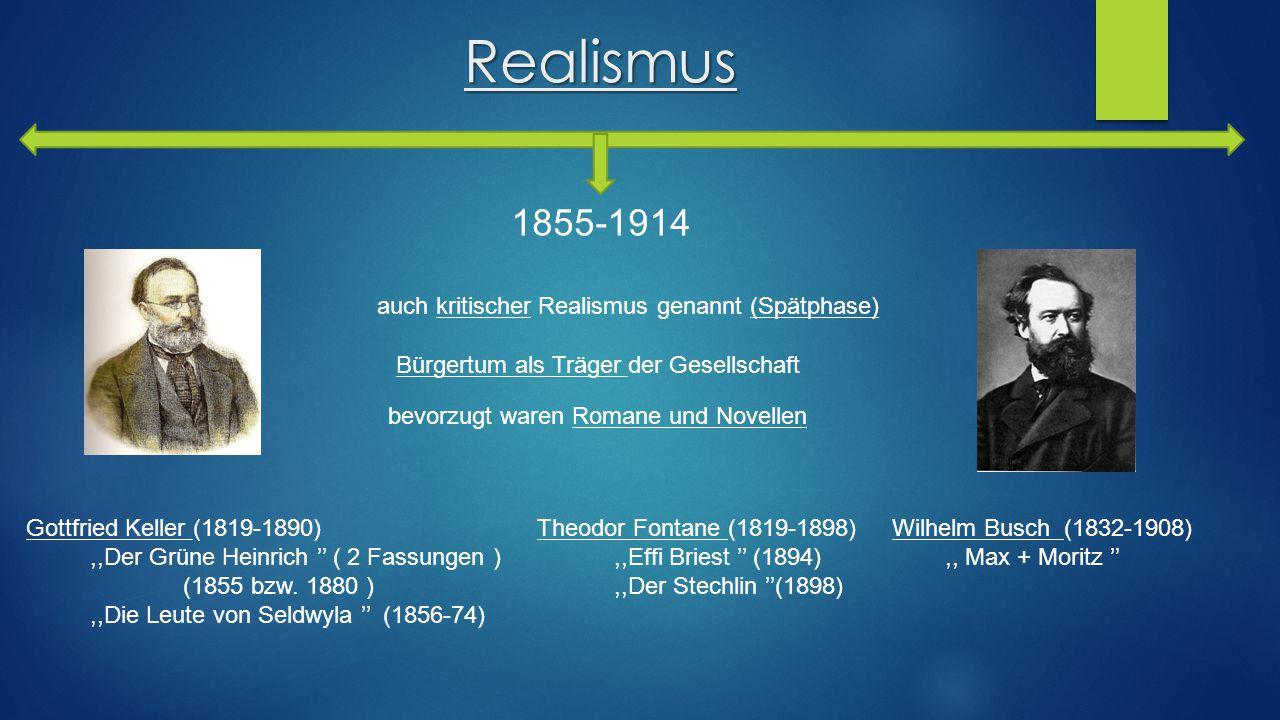 Realismus 1855-1914 auch kritischer Realismus genannt (Spätphase)