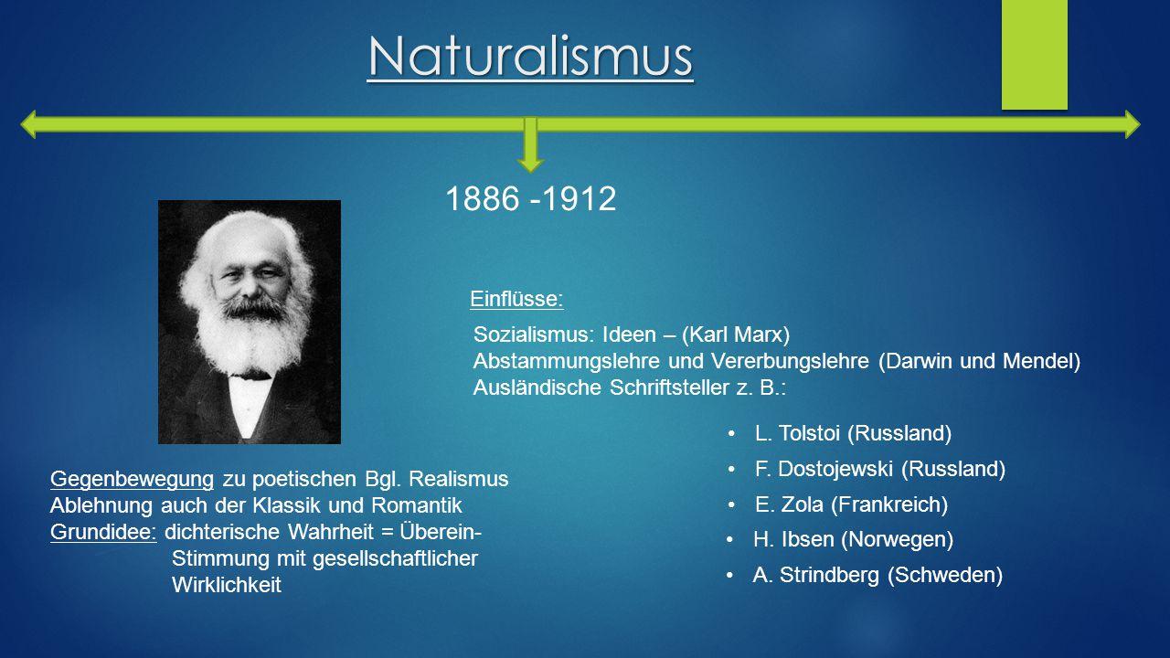 Naturalismus 1886 -1912 Einflüsse: Sozialismus: Ideen – (Karl Marx)