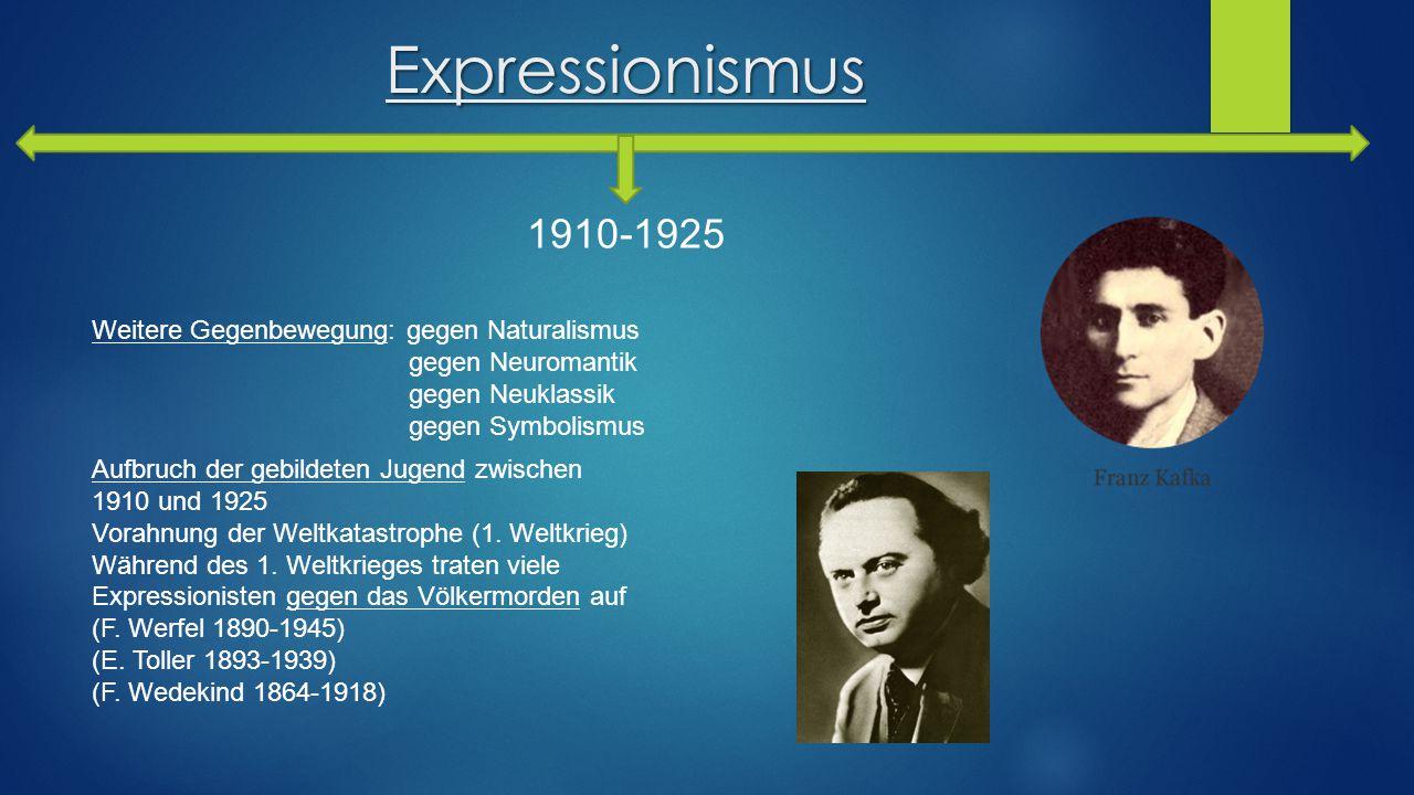 Expressionismus 1910-1925 Weitere Gegenbewegung: gegen Naturalismus