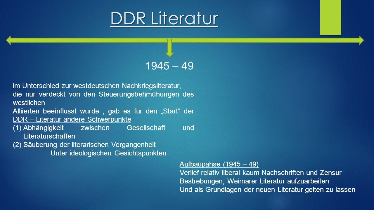 DDR Literatur 1945 – 49. im Unterschied zur westdeutschen Nachkriegsliteratur, die nur verdeckt von den Steuerungsbehmühungen des westlichen.
