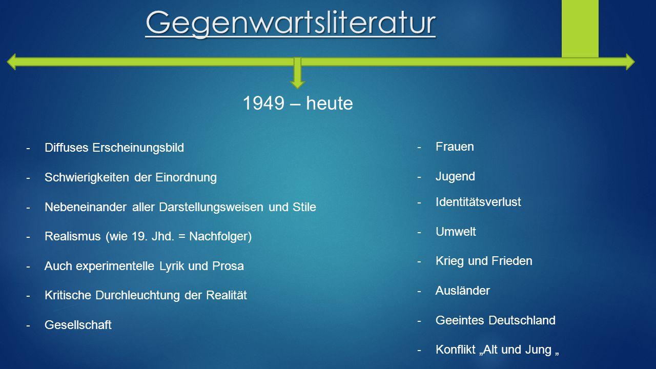 Gegenwartsliteratur 1949 – heute Diffuses Erscheinungsbild Frauen