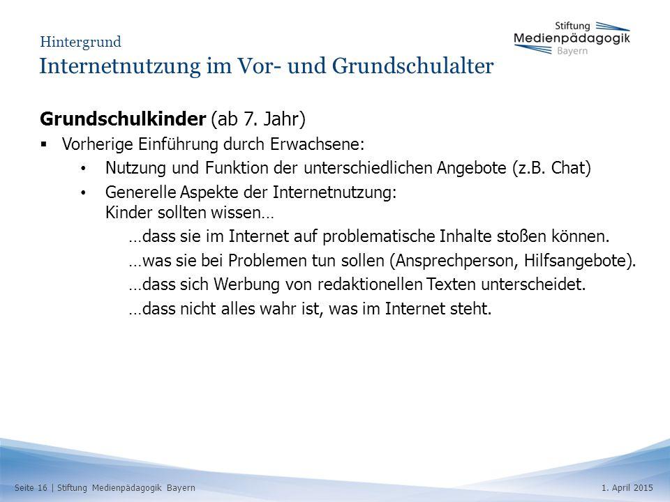 Internetnutzung im Vor- und Grundschulalter