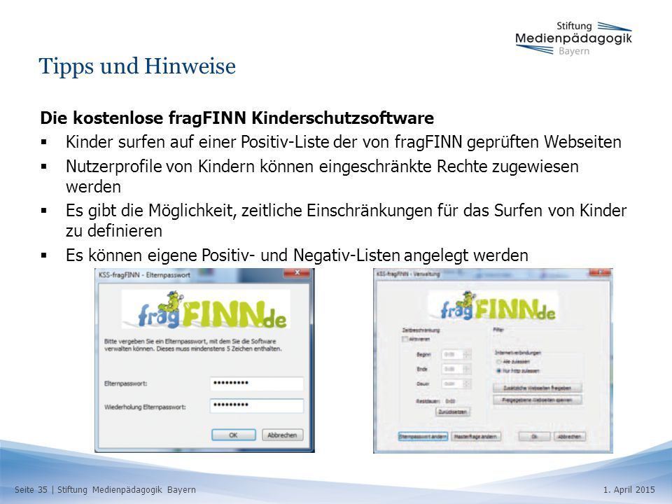 Tipps und Hinweise Die kostenlose fragFINN Kinderschutzsoftware