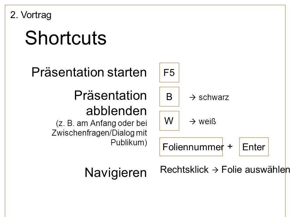 Shortcuts Präsentation starten Präsentation abblenden Navigieren