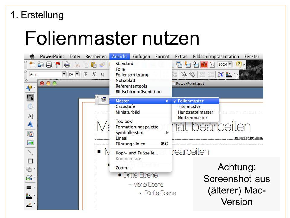 Achtung: Screenshot aus (älterer) Mac-Version