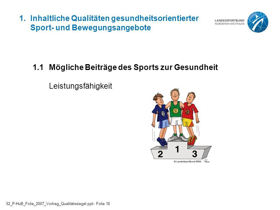 1.1 Mögliche Beiträge des Sports zur Gesundheit Leistungsfähigkeit