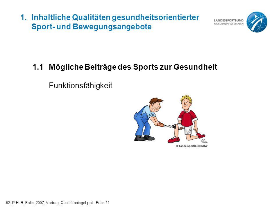 1.1 Mögliche Beiträge des Sports zur Gesundheit Funktionsfähigkeit