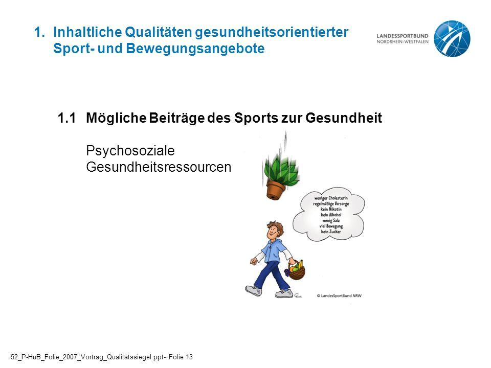 1. Inhaltliche Qualitäten gesundheitsorientierter Sport- und Bewegungsangebote