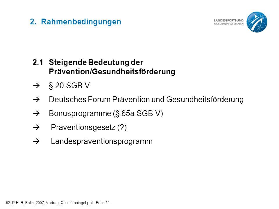 2.1 Steigende Bedeutung der Prävention/Gesundheitsförderung