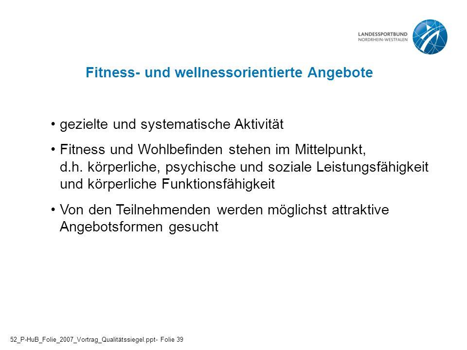 Fitness- und wellnessorientierte Angebote