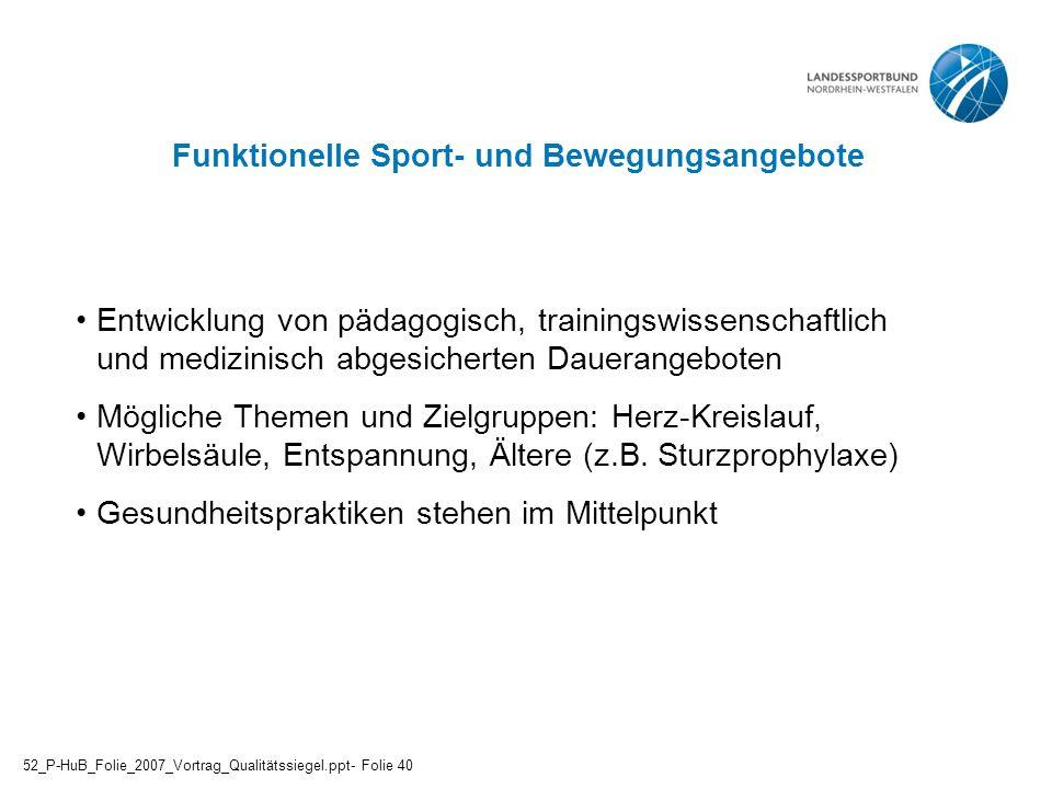 Funktionelle Sport- und Bewegungsangebote