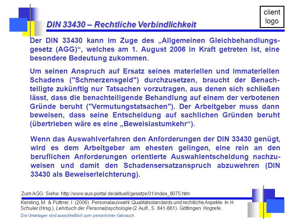 DIN 33430 – Rechtliche Verbindlichkeit
