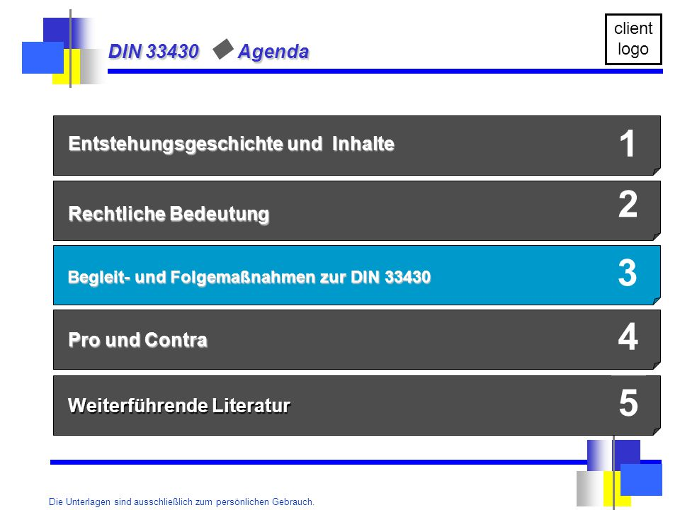 1 2 3 4 5 DIN 33430 u Agenda Entstehungsgeschichte und Inhalte
