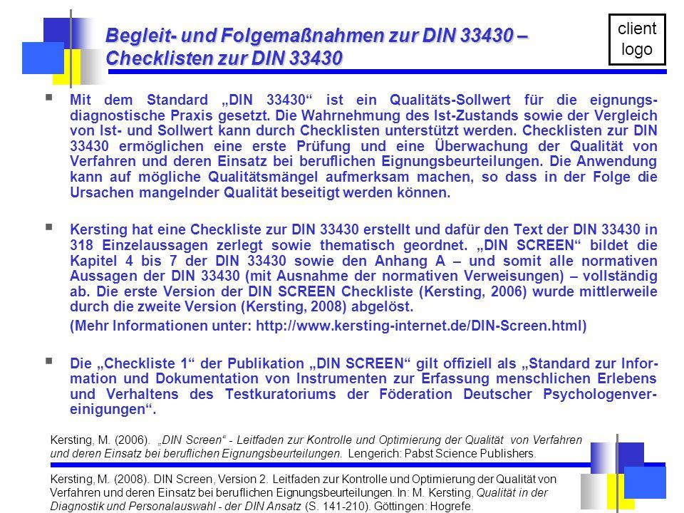 Begleit- und Folgemaßnahmen zur DIN 33430 – Checklisten zur DIN 33430