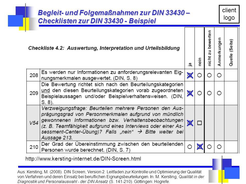     Begleit- und Folgemaßnahmen zur DIN 33430 –