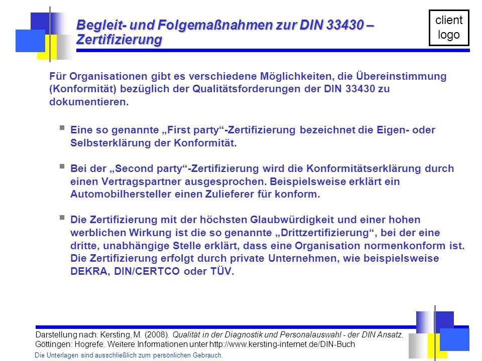 Begleit- und Folgemaßnahmen zur DIN 33430 – Zertifizierung
