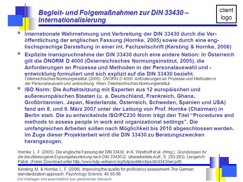 Begleit- und Folgemaßnahmen zur DIN 33430 – Internationalisierung