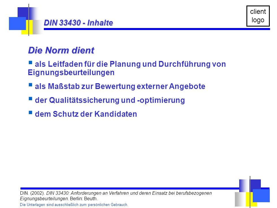 Die Norm dient DIN 33430 - Inhalte