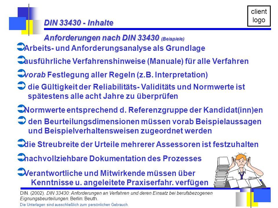Anforderungen nach DIN 33430 (Beispiele)