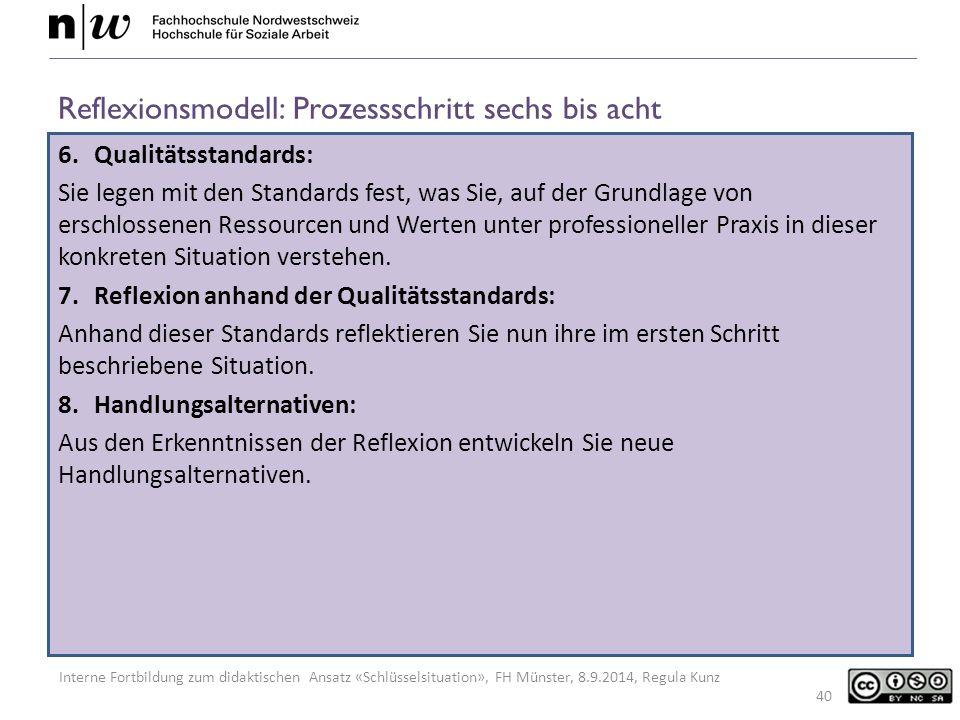 Reflexionsmodell: Prozessschritt sechs bis acht