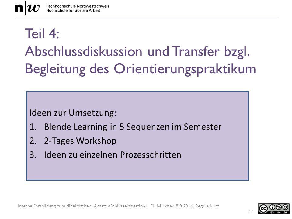 Teil 4: Abschlussdiskussion und Transfer bzgl