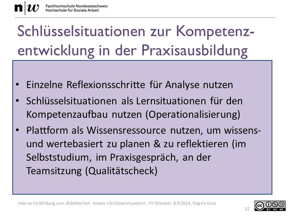 Schlüsselsituationen zur Kompetenz-entwicklung in der Praxisausbildung