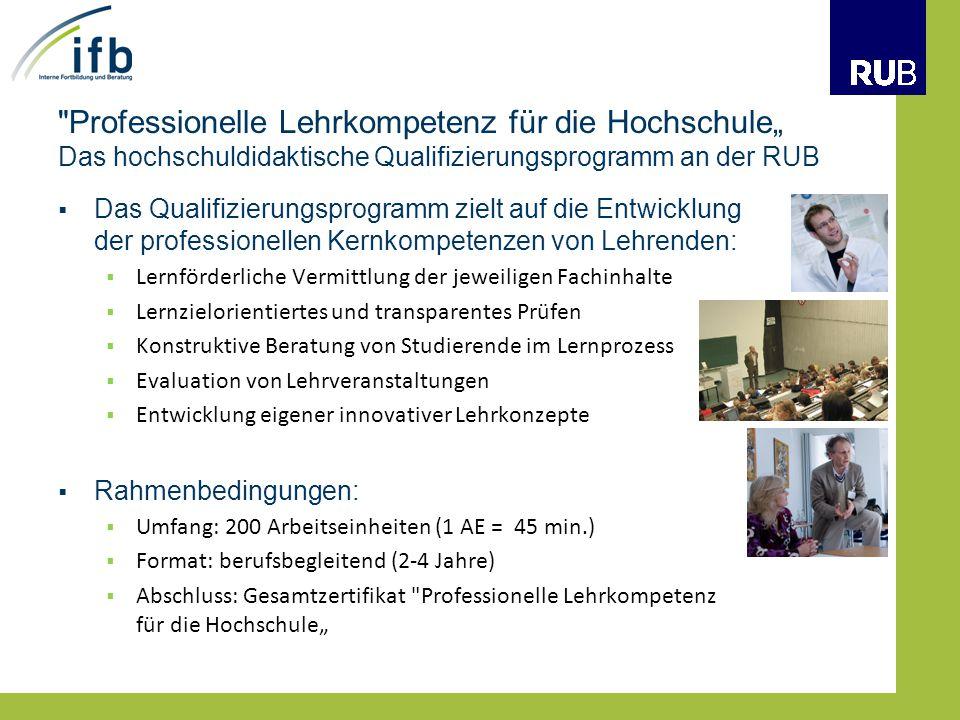 """Professionelle Lehrkompetenz für die Hochschule"""" Das hochschuldidaktische Qualifizierungsprogramm an der RUB"""
