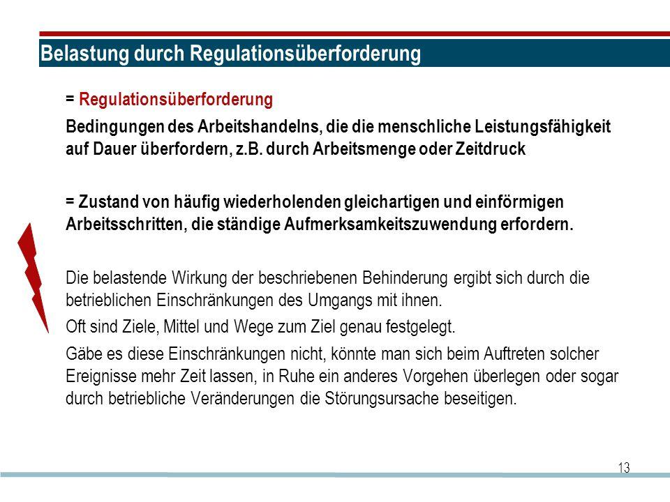 Belastung durch Regulationsüberforderung